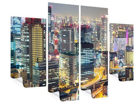 Poster 4-teilig Skyline Osaka im Lichtermeer