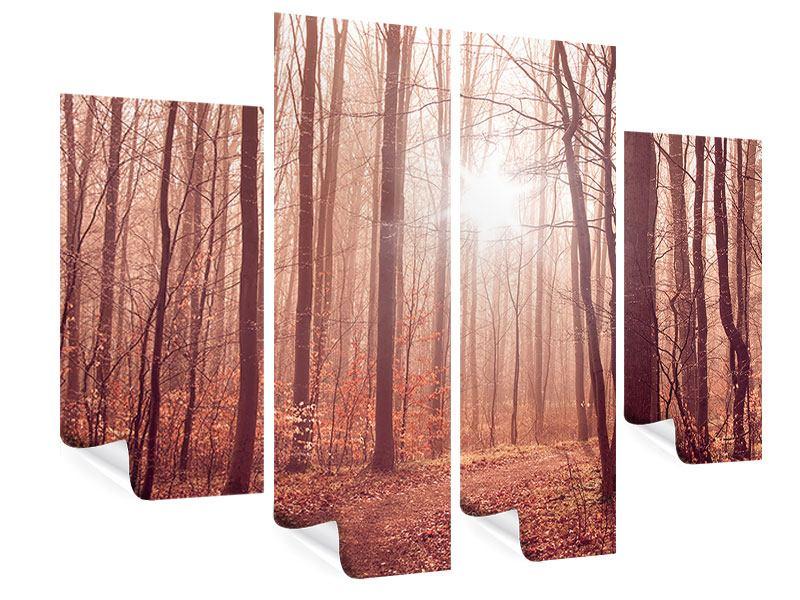 Poster 4-teilig Sonnenuntergang im Herbstwald