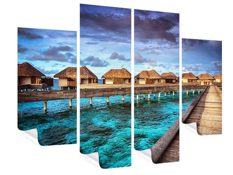 Poster 4-teilig Traumhaus im Wasser