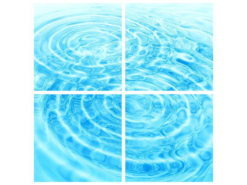 Poster 4-teilig Abstraktes Wasserbad