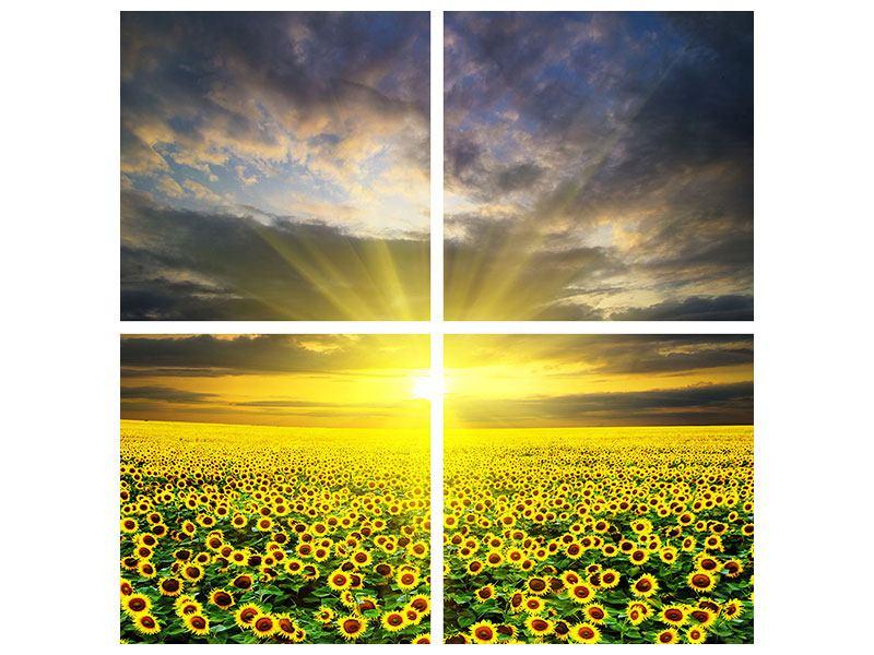 Poster 4-teilig Abenddämmerung bei den Sonnenblumen