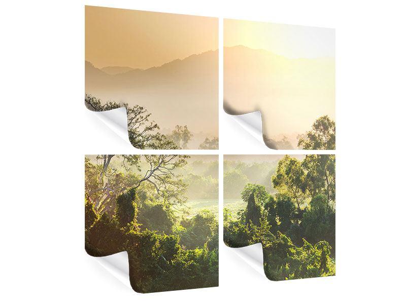 Poster 4-teilig Lichtspiel im Wald