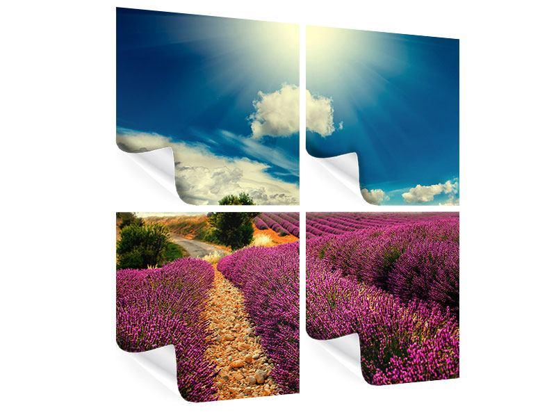 Poster 4-teilig Das Lavendeltal