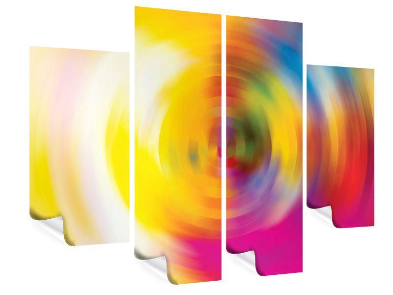 Poster 4-teilig Abstrakte Farbkreise