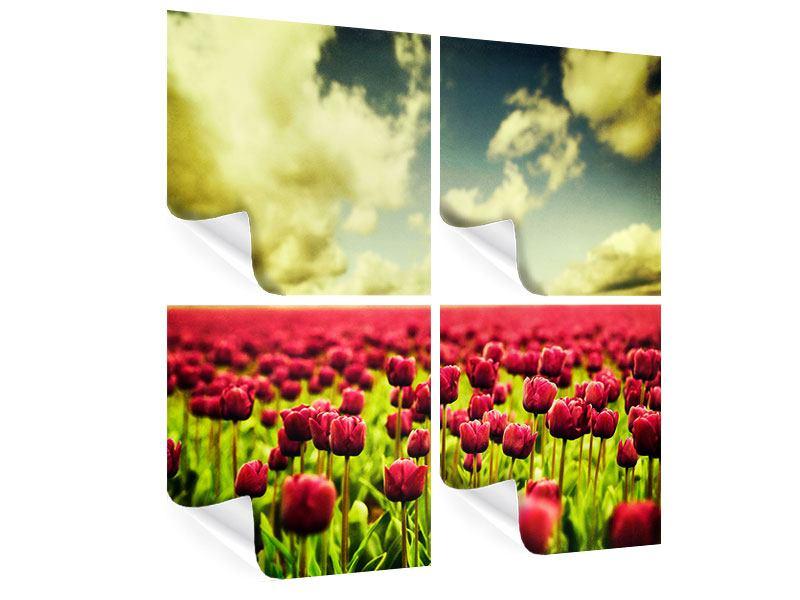 Poster 4-teilig Ein Tulpenfeld