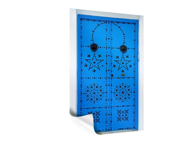 Poster Blaue Holztür