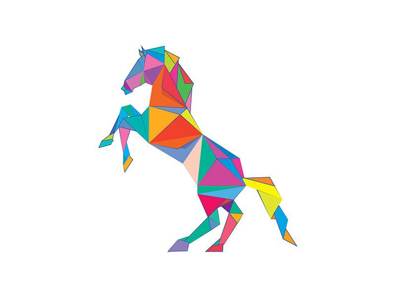 Poster Origami Pferd