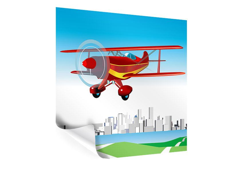 Poster Fliegendes Flugzeug
