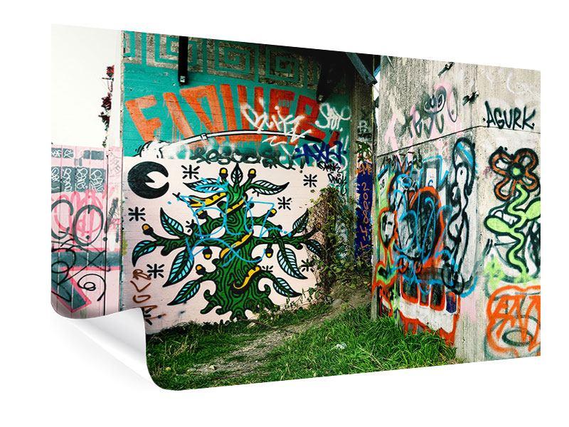 Poster Graffiti im Hinterhof