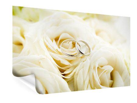 Poster Trauringe auf Rosen gebettet