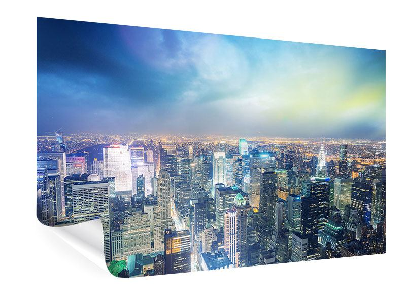 Poster Skyline NY bei Sonnenuntergang