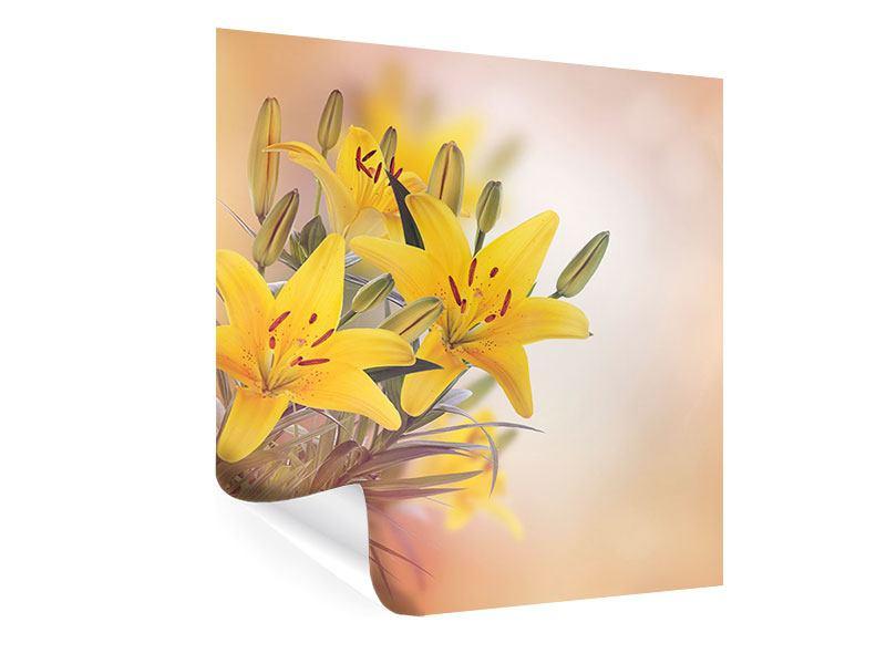 Poster Gelbes Lilientrio