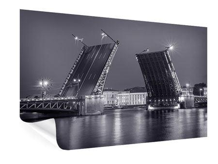 Poster Klappbrücke bei Nacht
