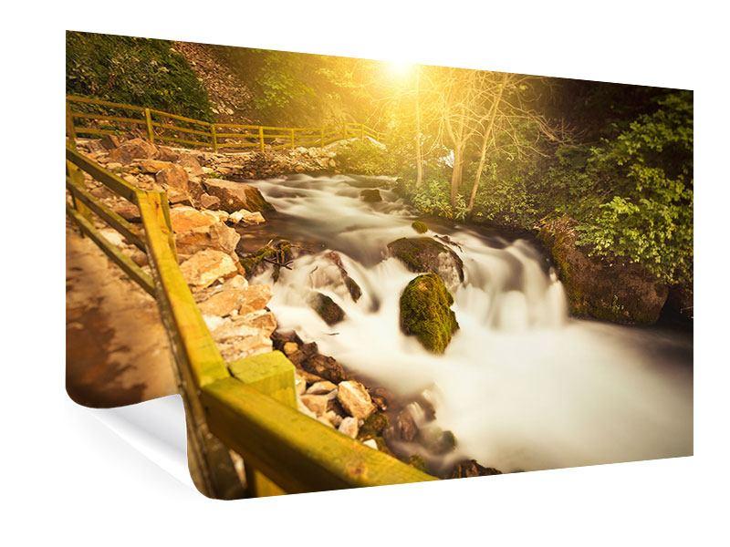 Poster Sonnenuntergang am Wasserfall