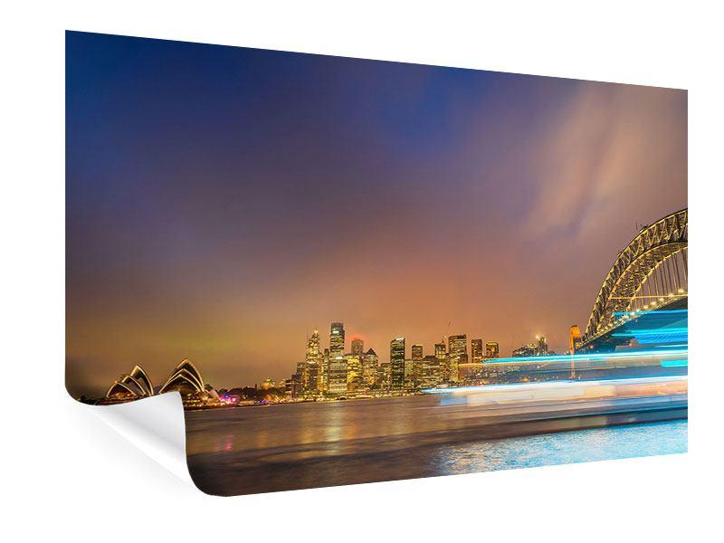Poster Skyline Opera House in Sydney im Abendlicht