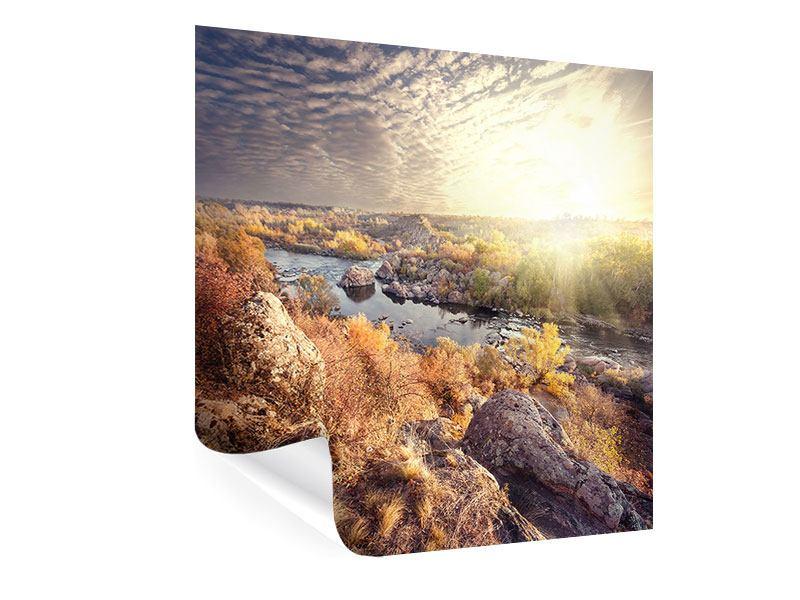 Poster Sonnenaufgang am Fluss