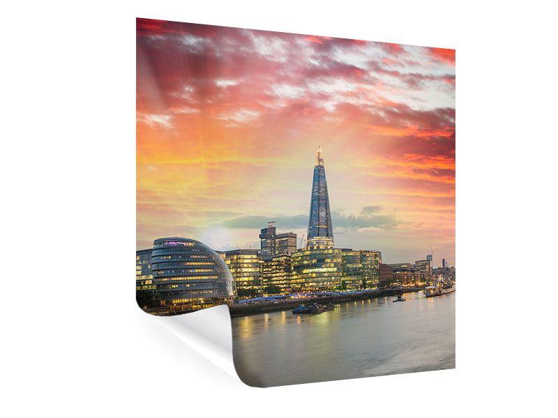 Poster Skyline London im Abendrot