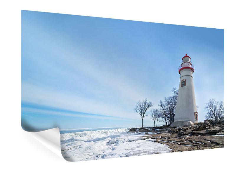 Poster Leuchtturm im Schnee