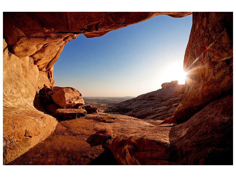 Poster Sonnenuntergang vor der Höhle