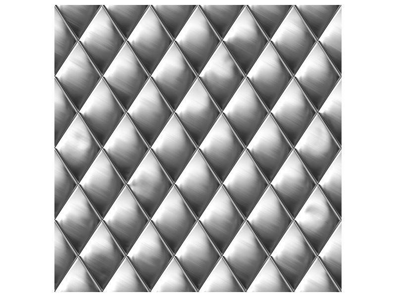 Poster 3D-Rauten Silbergrau