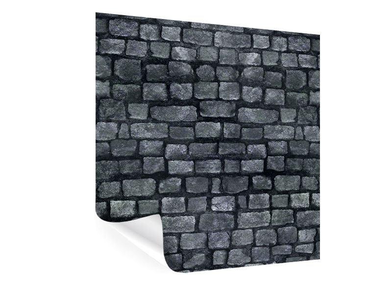 Poster Graue Steinmauer