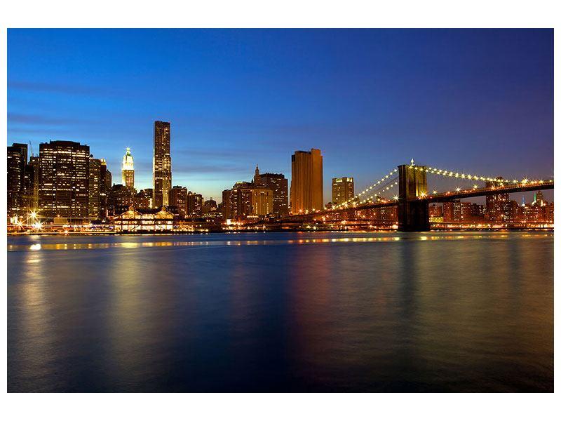 Poster Skyline Manhattan im Lichtermeer