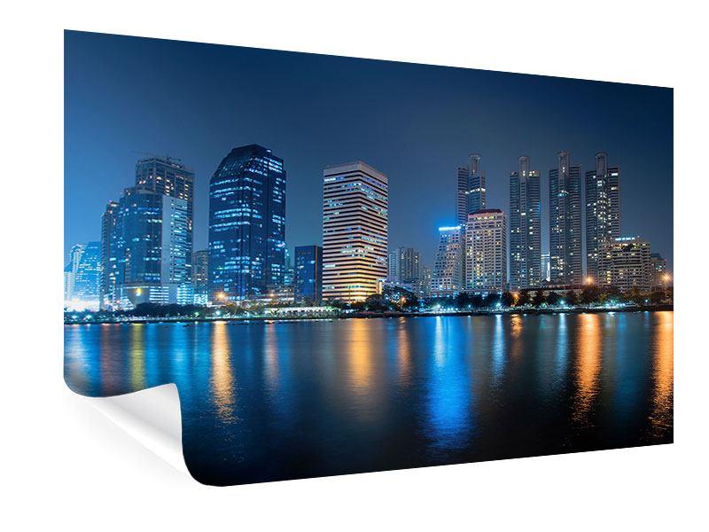 Poster Skyline Bangkok bei Nacht