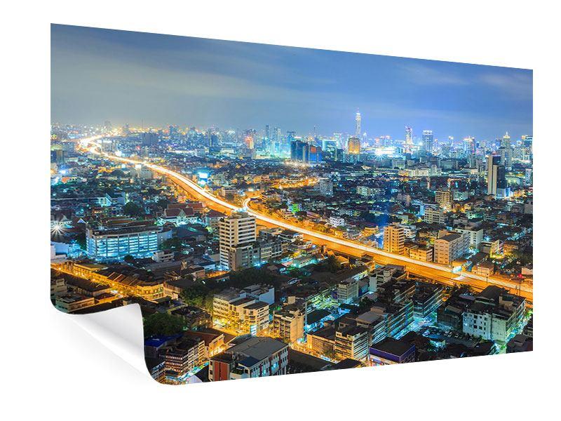 Poster Skyline Bangkok im Fieber der Nacht