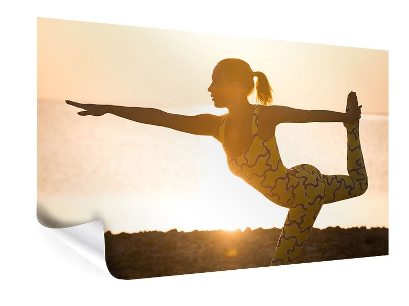 Poster Yoga bei Sonnenuntergang