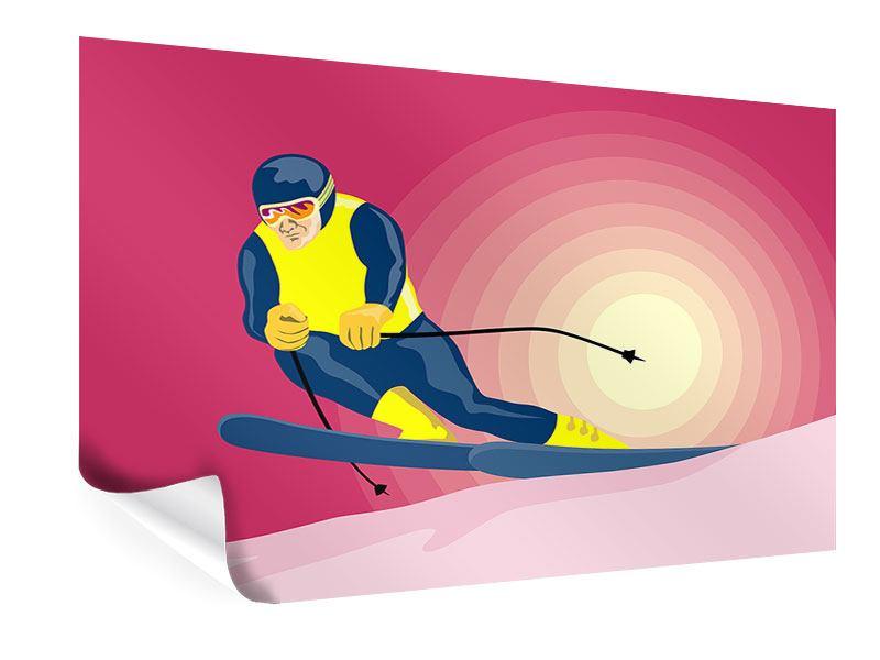 Poster Retro-Skifahrer
