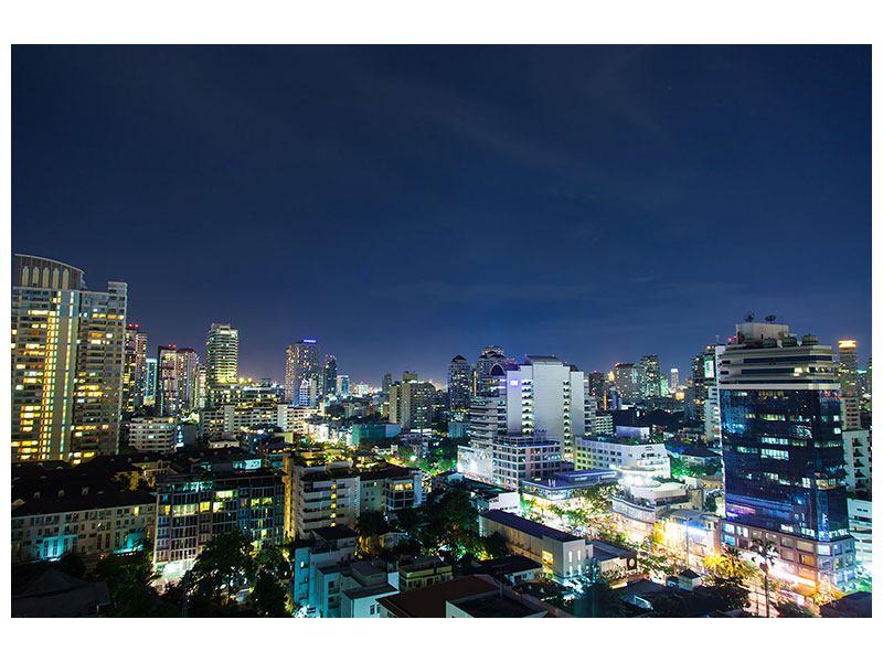 Poster Skyline Nachts in Bangkok