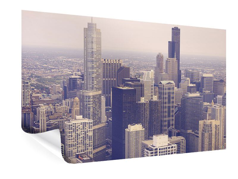 Poster Skyline Chicago in Sepia