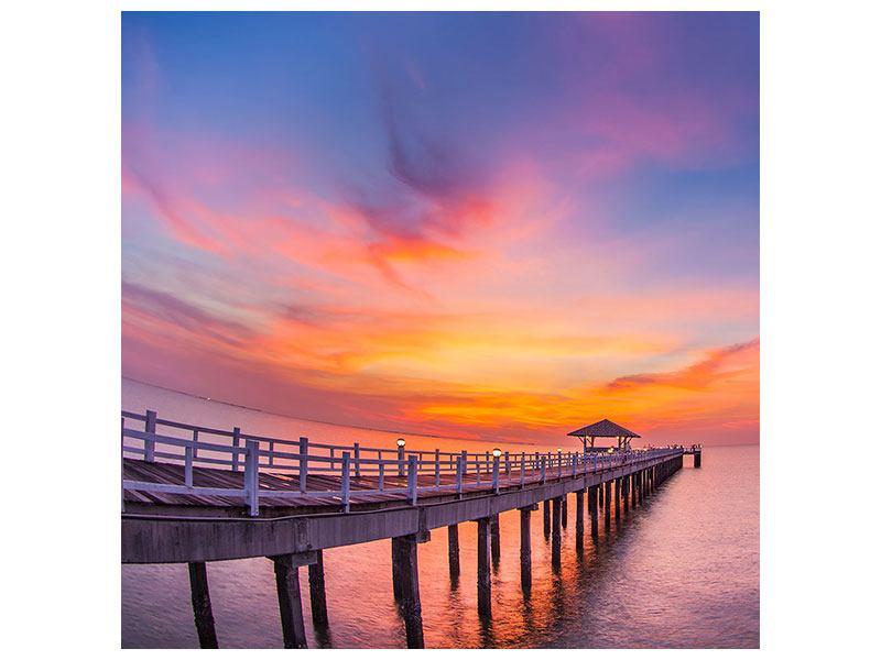 Poster Die romantische Brücke bei Sonnenuntergang