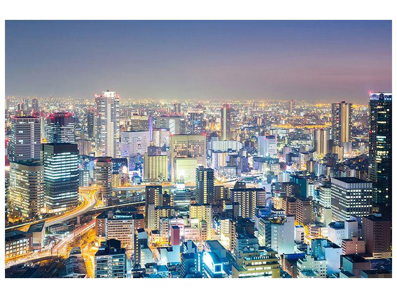 Poster Skyline Osaka bei Sonnenuntergang