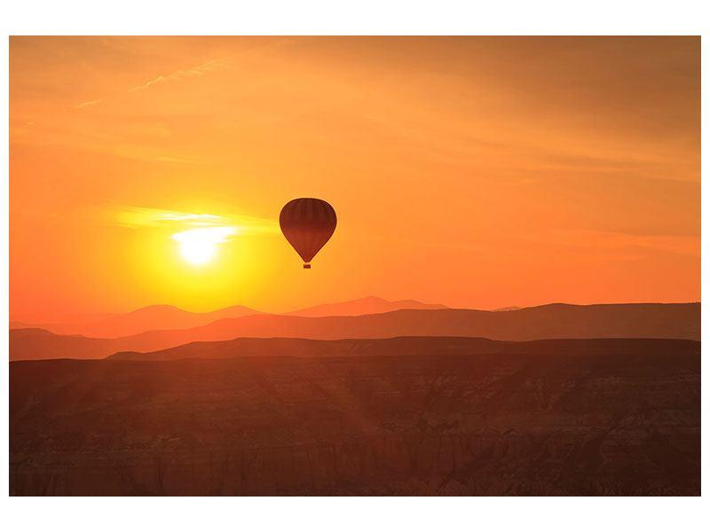 Poster Heissluftballon bei Sonnenuntergang