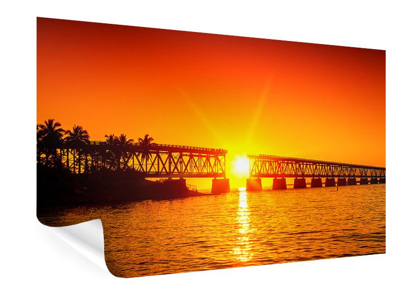 Poster Sonnenuntergang an der Brücke