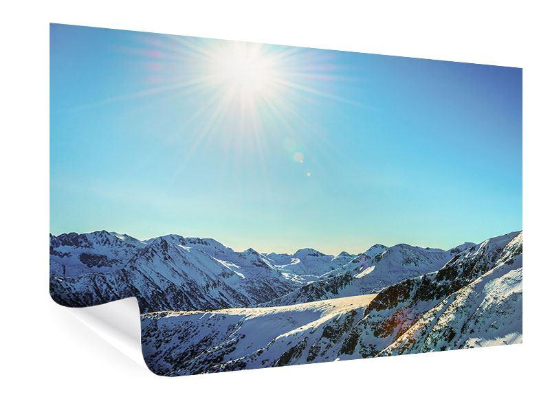 Poster Sonnige Berggipfel im Schnee