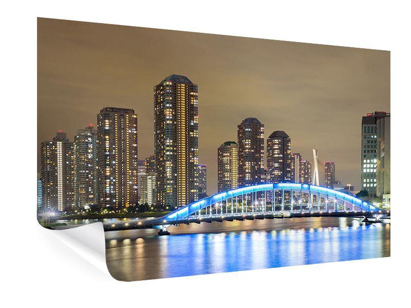 Poster Skyline Tokio in der Nacht