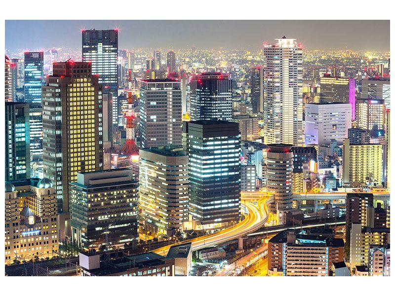 Poster Skyline Osaka im Lichtermeer