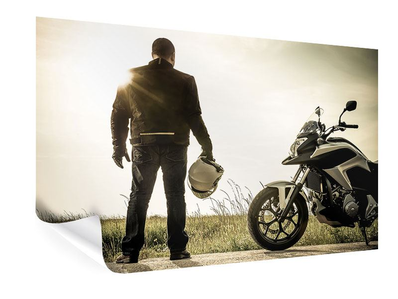 Poster Biker in der Abenddämmerung