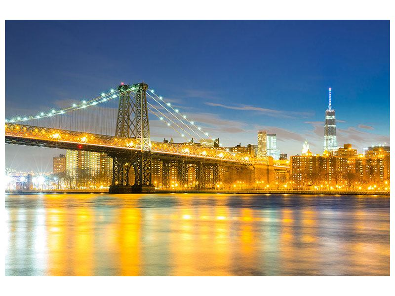 Poster Brooklyn Bridge bei Nacht