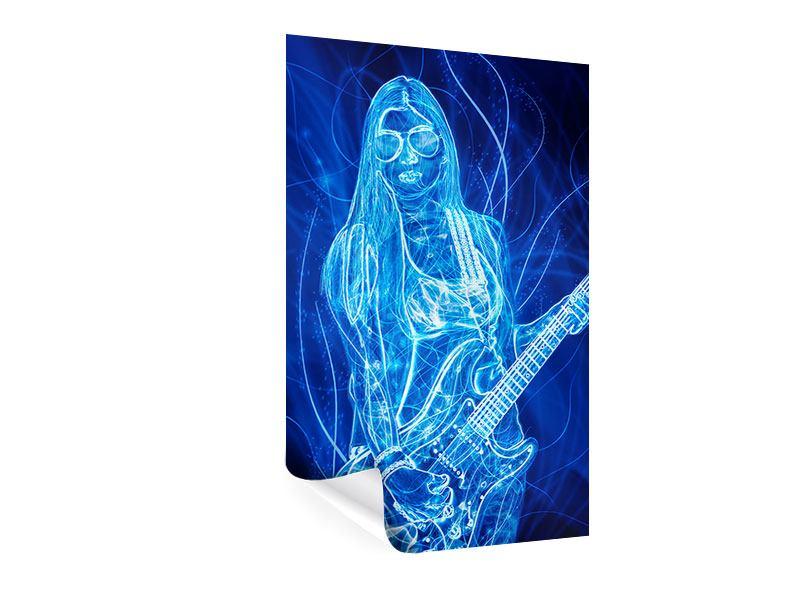Poster Leuchtende Gitarristin