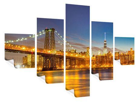 Poster 5-teilig Skyline NY Williamsburg Bridge