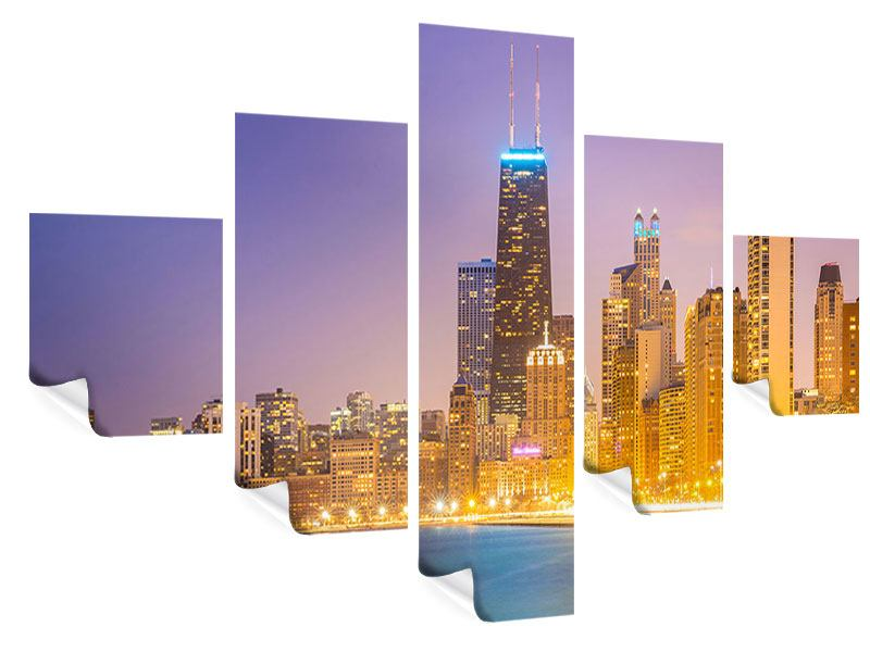 Poster 5-teilig Skyline Chicago in der Nacht
