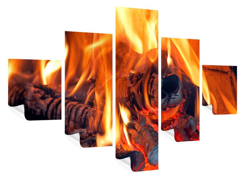 Poster 5-teilig Lagerfeuer