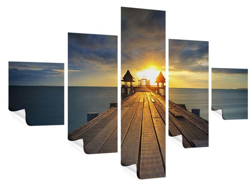 Poster 5-teilig Der Sonnenuntergang bei der Holzbrücke