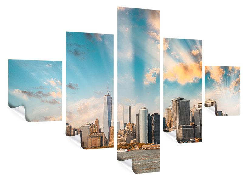 Poster 5-teilig Skyline New York from the other Side