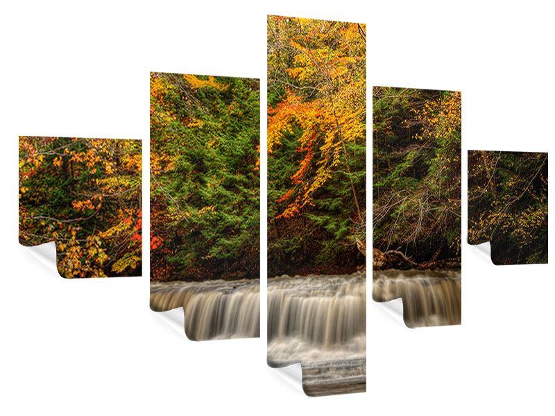 Poster 5-teilig Herbst beim Wasserfall