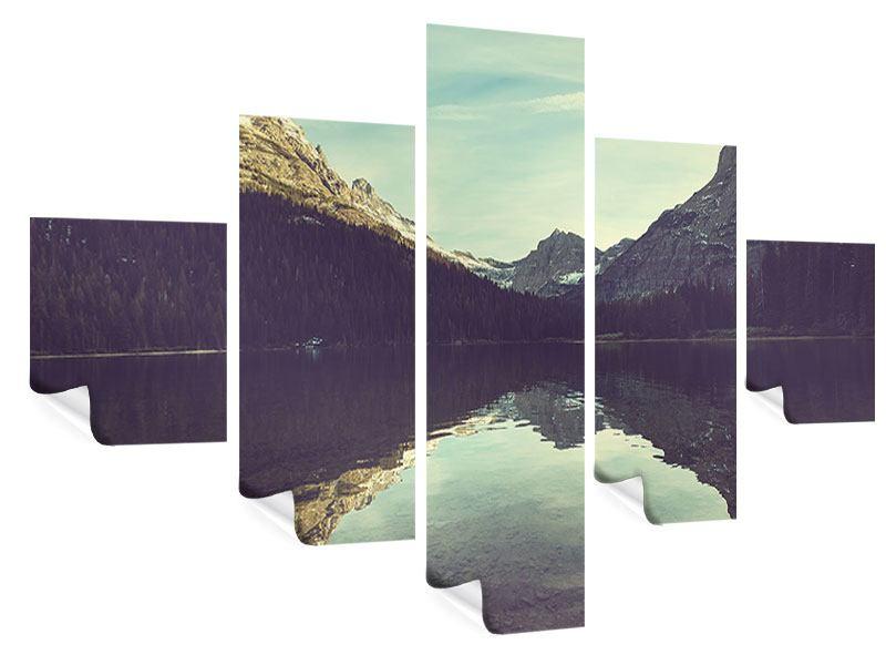 Poster 5-teilig Spiegelung im Bergsee