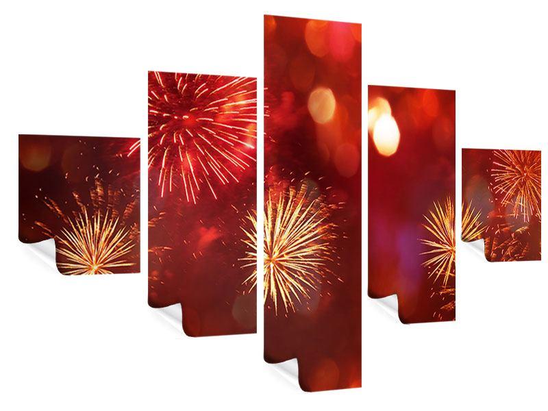 Poster 5-teilig Buntes Feuerwerk